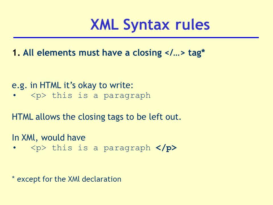 xml syntax