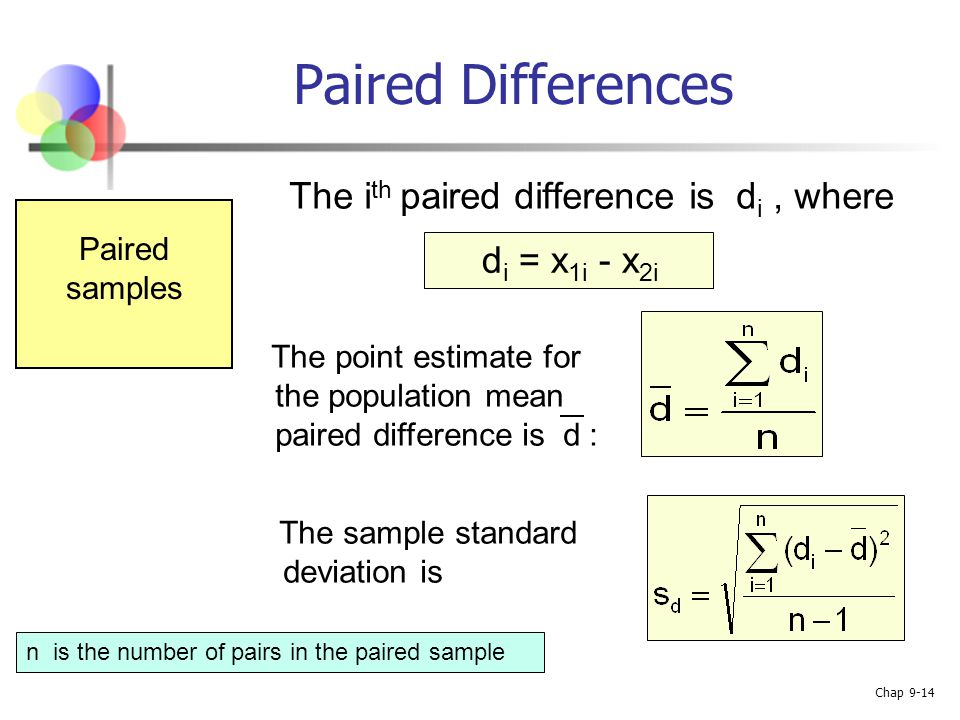how to find sample standard deviation of differences