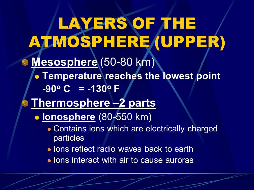 LAYERS OF THE ATMOSPHERE (UPPER)