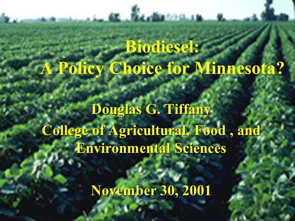 Biodiesel: A Policy Choice for Minnesota
