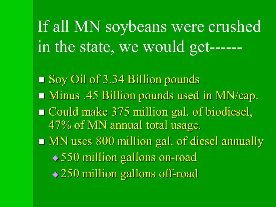 If all MN soybeans were crushed in the state, we would get------