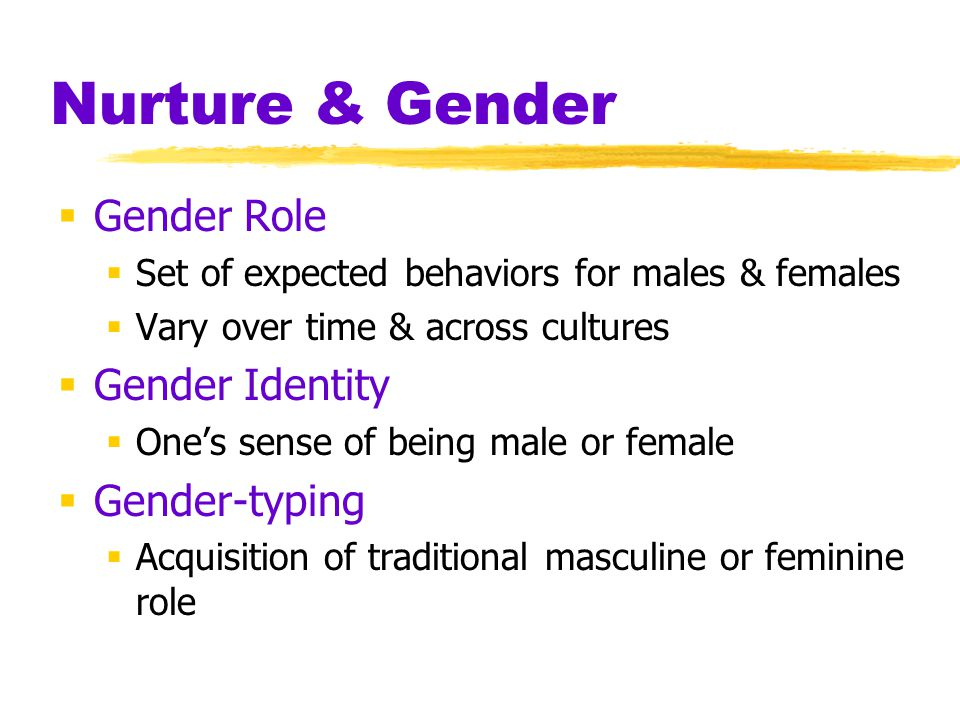 Nurture & Gender Gender Role Gender Identity Gender-typing
