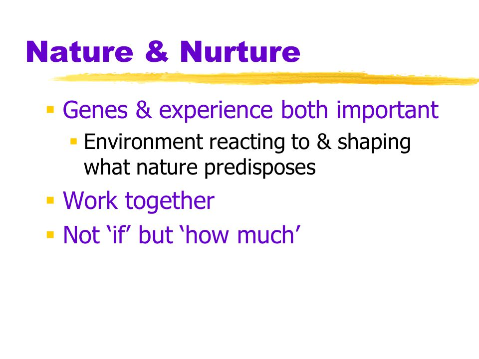 Nature & Nurture Genes & experience both important Work together