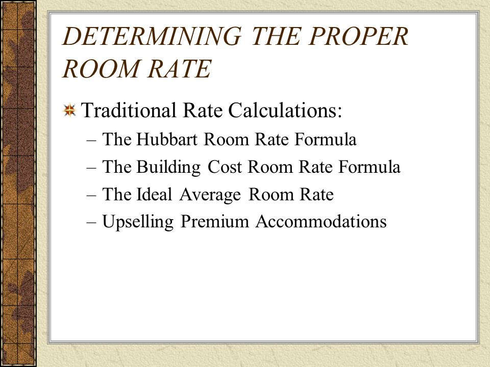 Building Cost Room Rate Formula