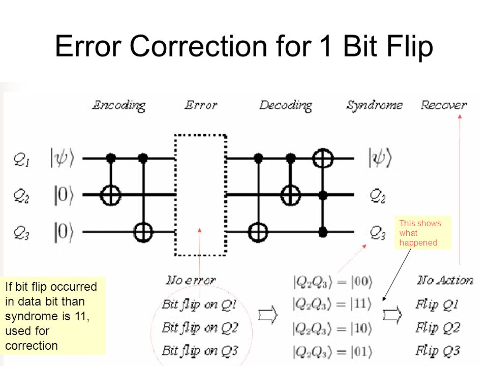 Error Correction for 1 Bit Flip