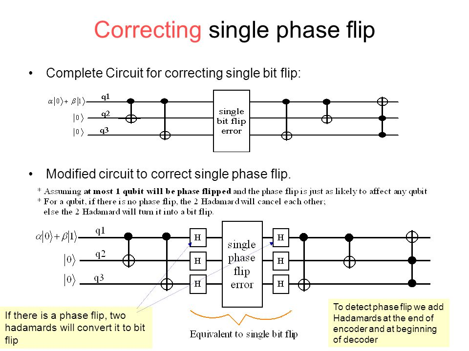 Correcting single phase flip