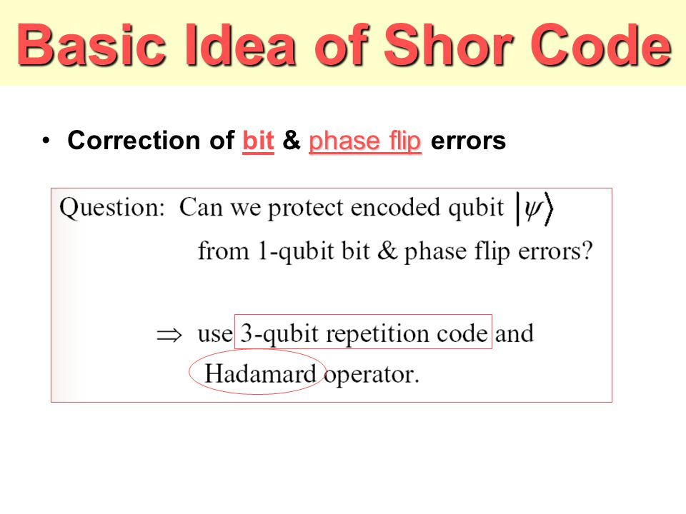 Basic Idea of Shor Code Correction of bit & phase flip errors