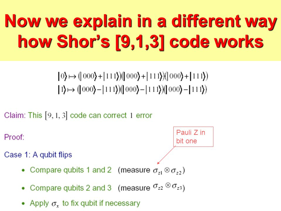 Now we explain in a different way how Shor's [9,1,3] code works