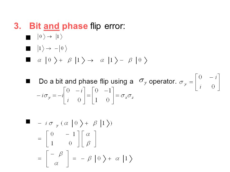 Bit and phase flip error: