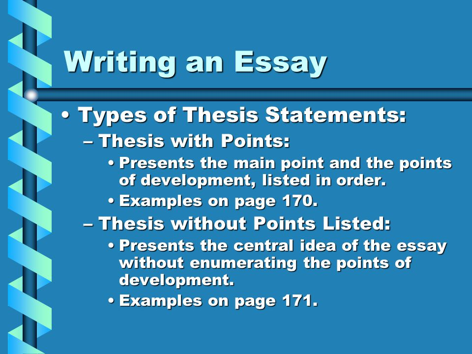 4 different types of thesis statements Types of essay essay structure thesis statement alcohol essays essay on alcohol: essay examples, topics, questions, thesis statement.