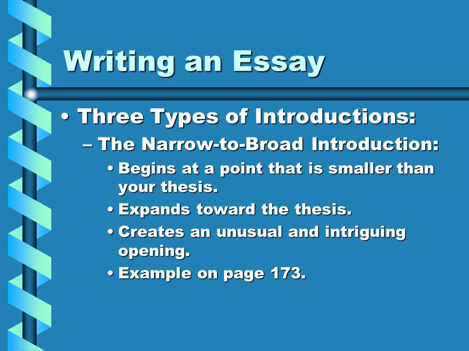 types of introductions in essay writing Essay introduction how to write an introduction to essay the main purpose of the introduction is to give the reader a clear idea of the essay's focal point.