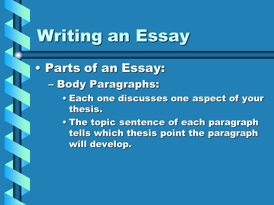 writing an essay comm arts i mr wreford ppt writing an essay parts of an essay body paragraphs