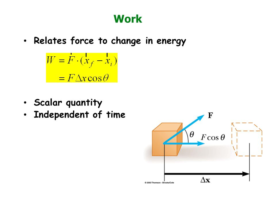 Work Relates force to change in energy Scalar quantity