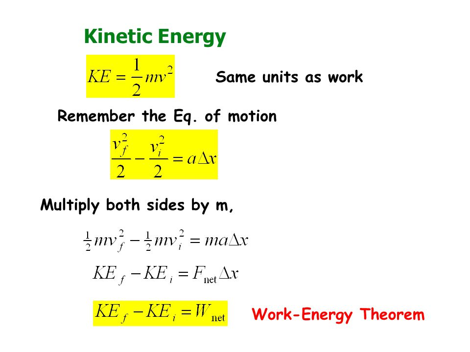 Kinetic Energy Same units as work Remember the Eq. of motion