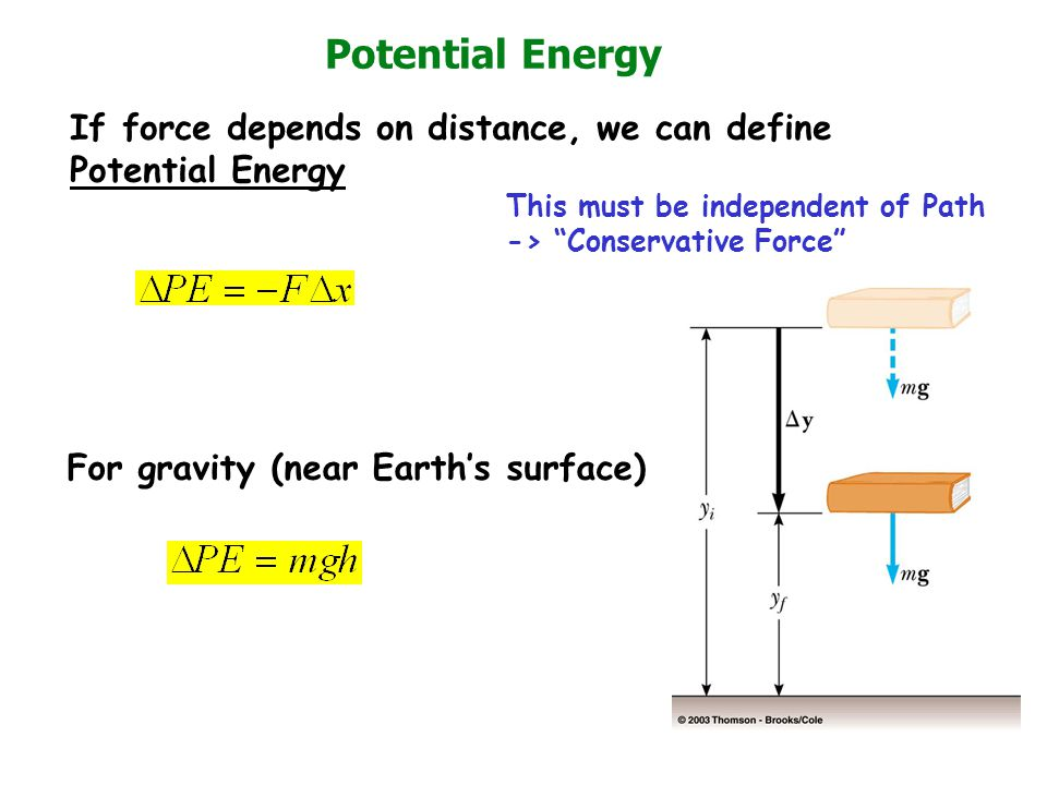 Potential Energy If force depends on distance, we can define