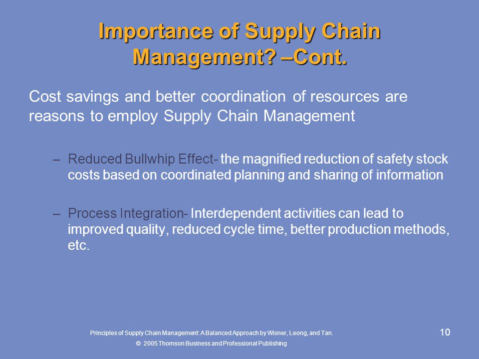 Importance of Supply Chain Management –Cont.