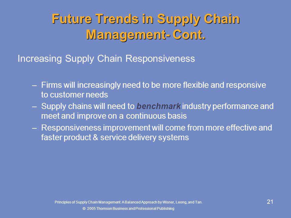 Future Trends in Supply Chain Management- Cont.