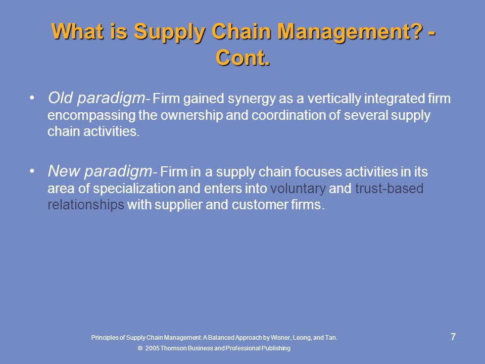 What is Supply Chain Management -Cont.