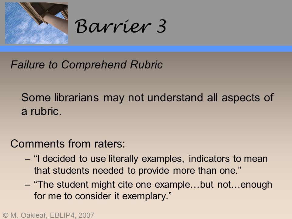 Barrier 3 Failure to Comprehend Rubric