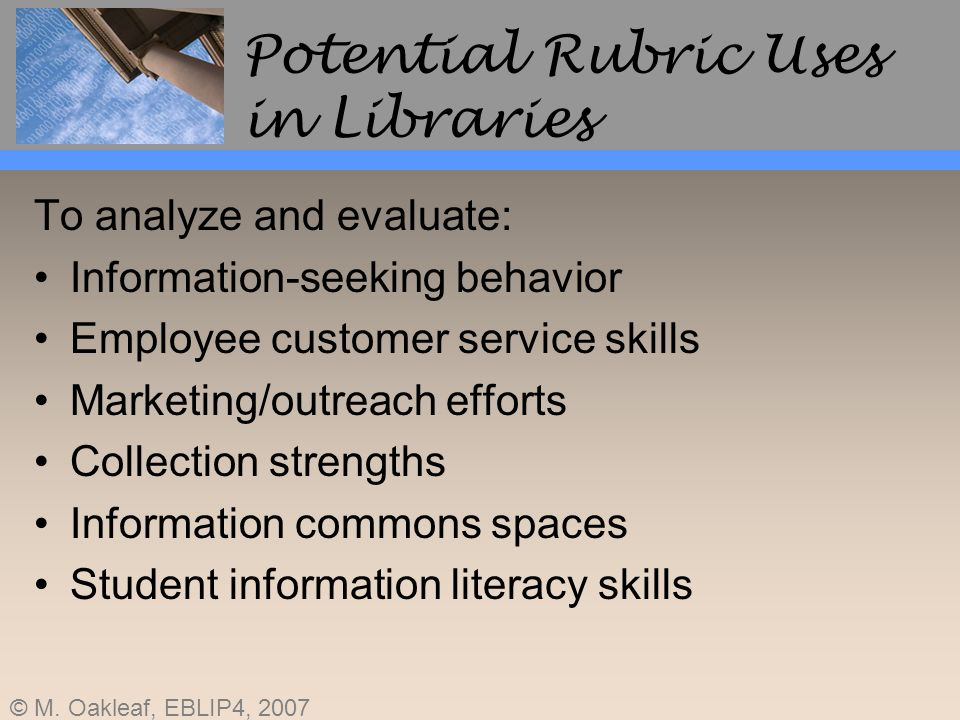 Potential Rubric Uses in Libraries