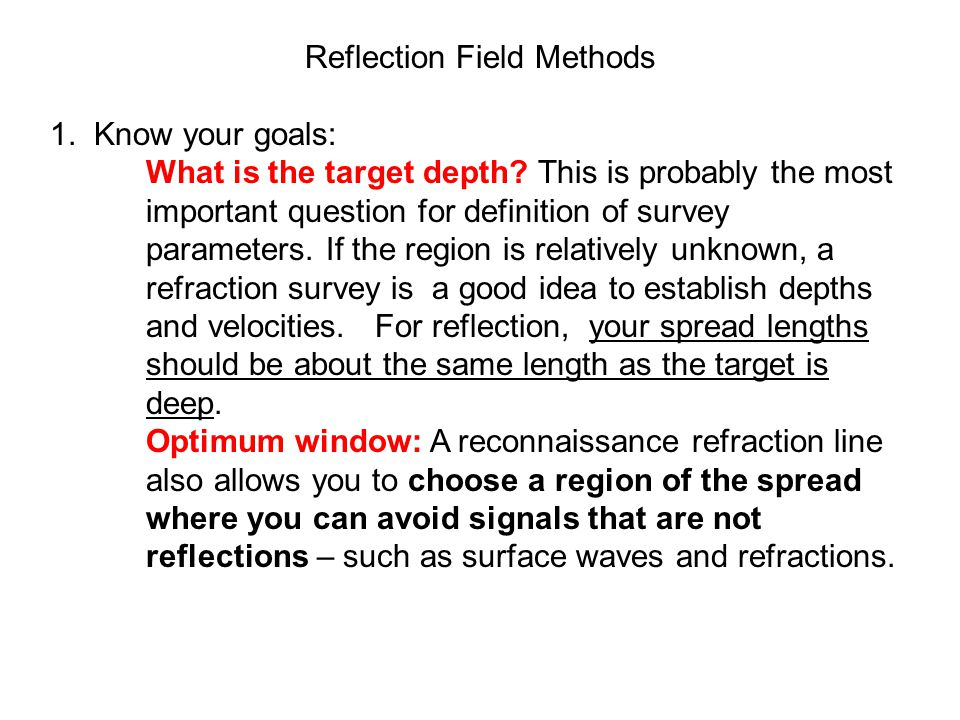 Reflection Field Methods