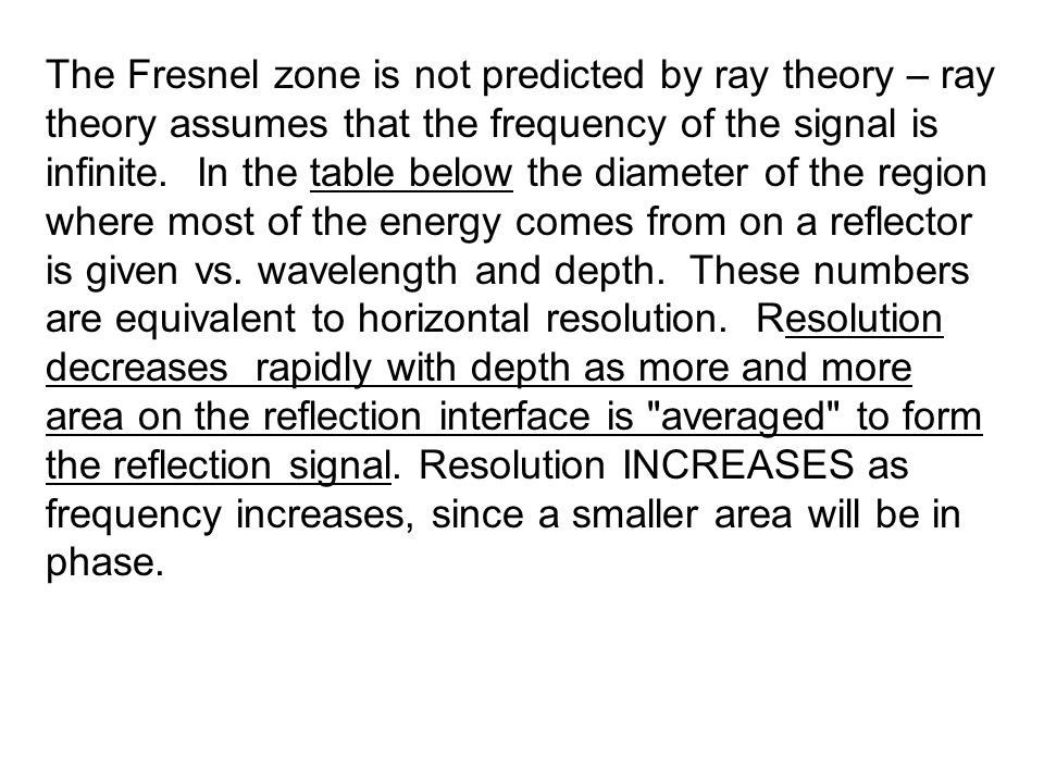 The Fresnel zone is not predicted by ray theory – ray theory assumes that the frequency of the signal is infinite.