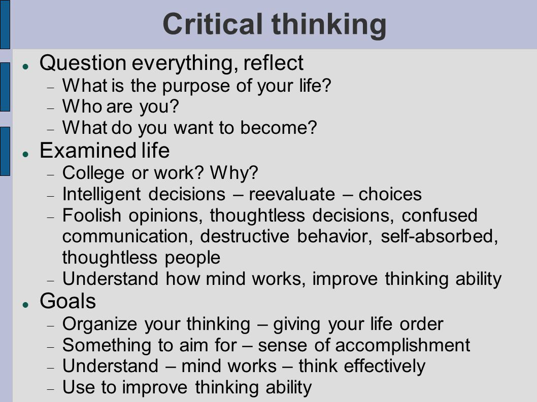 Critical thinking application paper january 2010