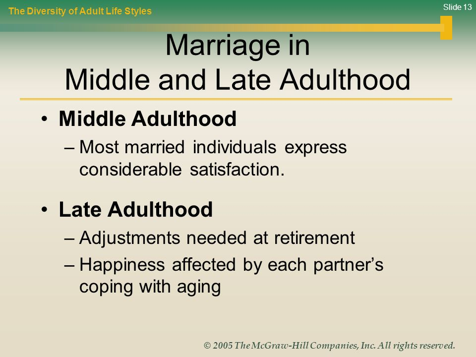 Marriage in Middle and Late Adulthood