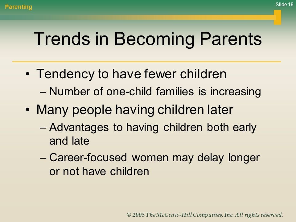 Trends in Becoming Parents