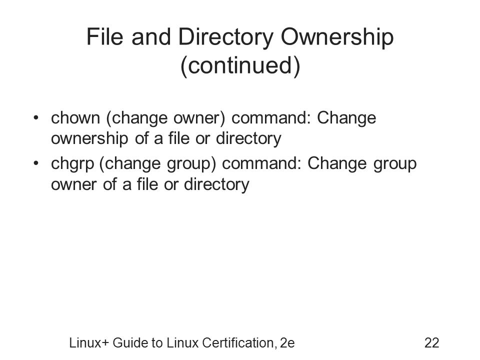 File and Directory Ownership (continued)
