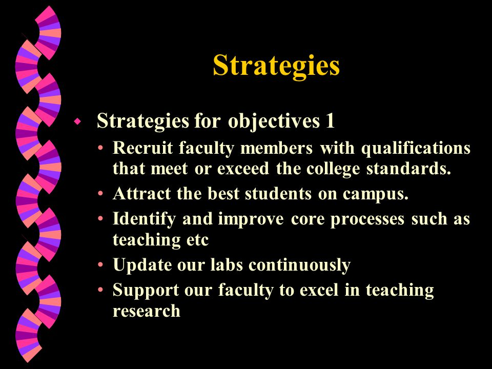 Strategies Strategies for objectives 1