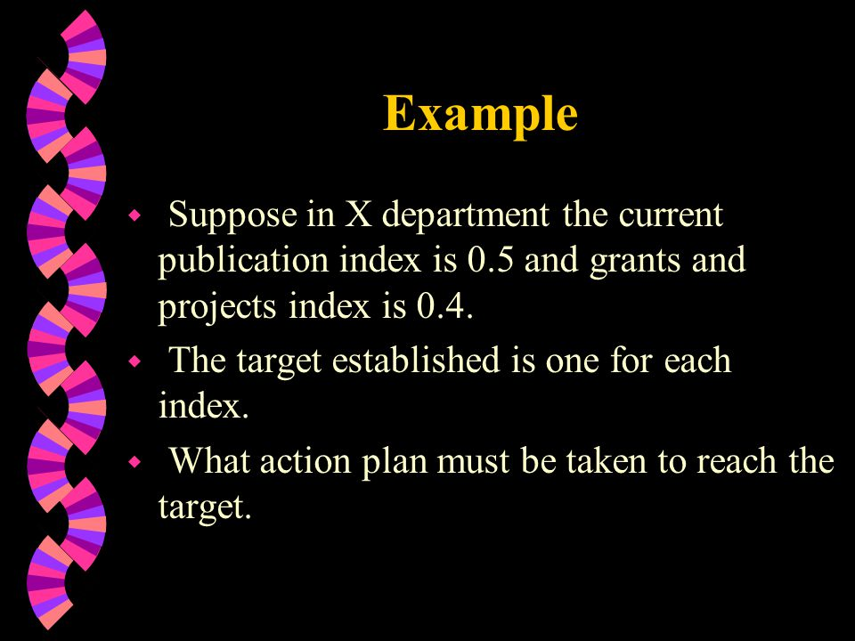Example Suppose in X department the current publication index is 0.5 and grants and projects index is 0.4.