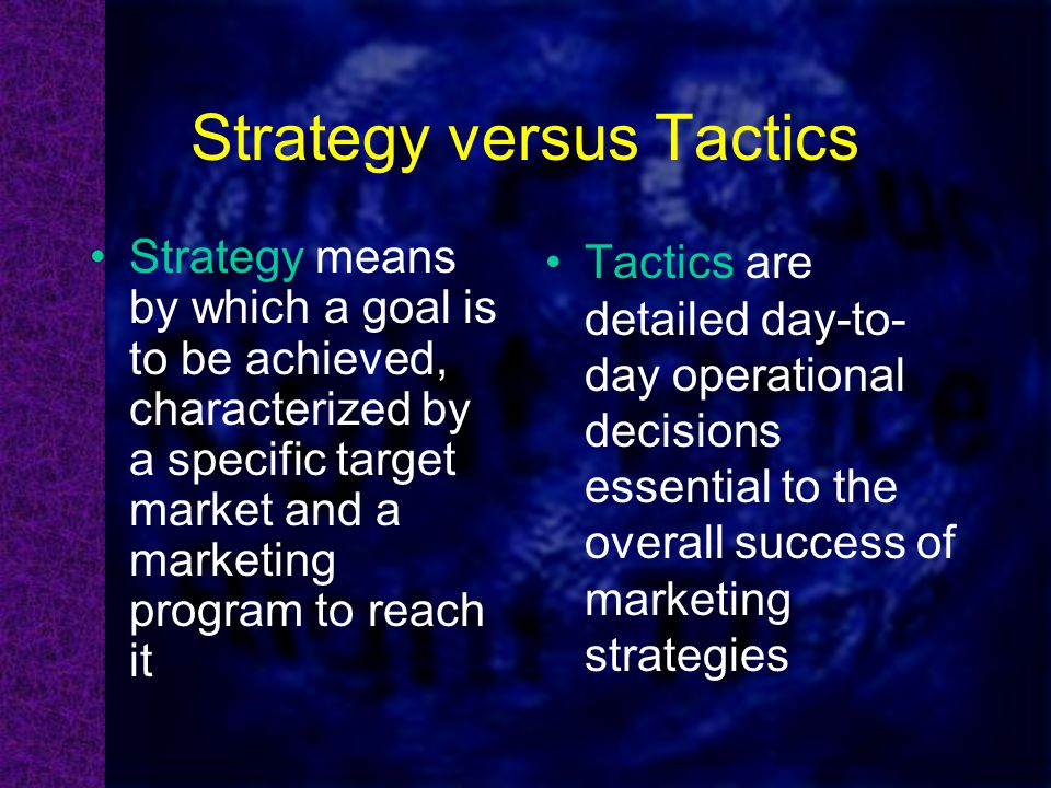 strategy vs tactics Ok long article here: strategy vs tactics (not what you expect) tl:dr version: most people will quote the united states department of defense doctrine and definitions, and basically ignore the use of strategy and tactics in politics, business, s.