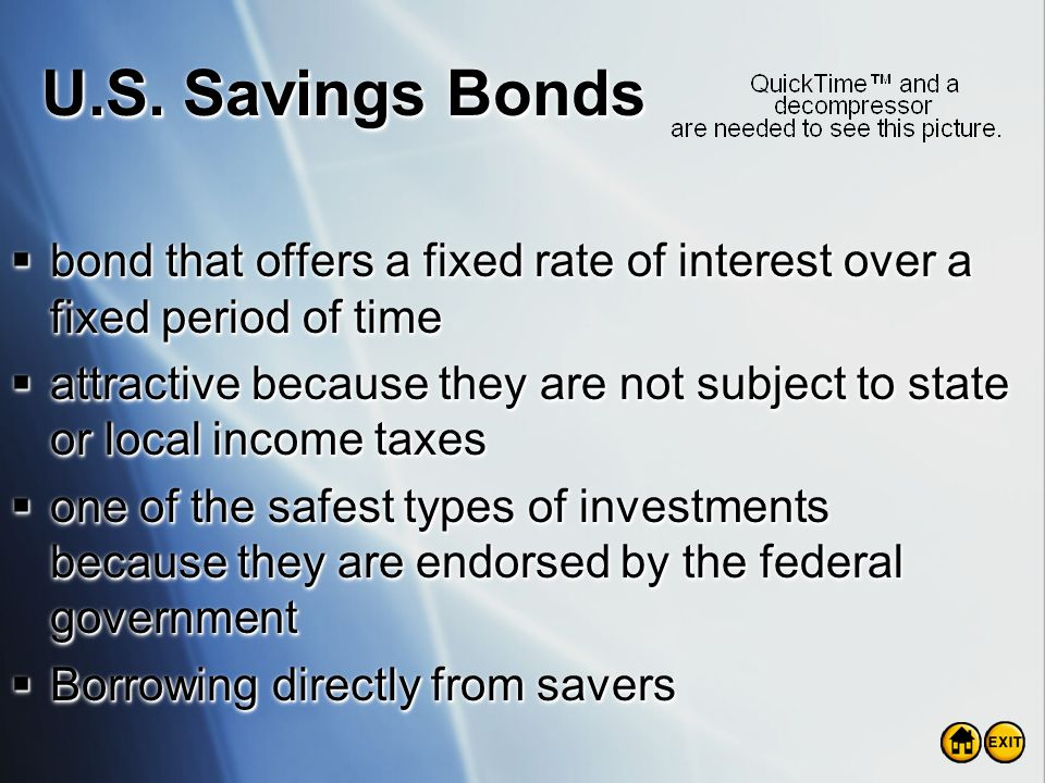 U.S. Savings Bonds bond that offers a fixed rate of interest over a fixed period of time.