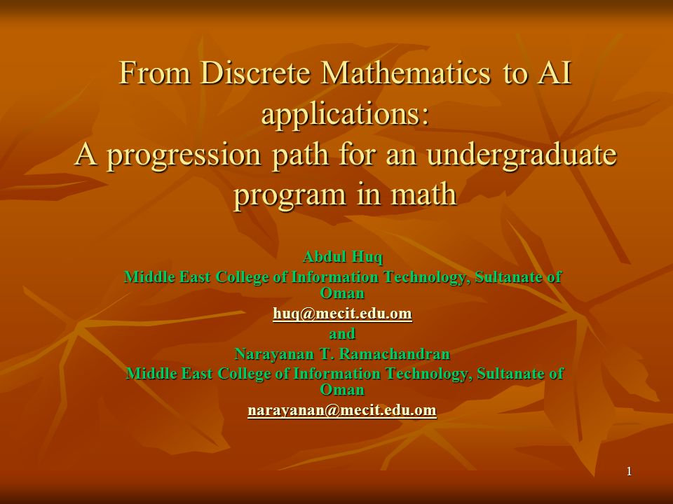 From Discrete Mathematics to AI applications: A progression path for an undergraduate program in math