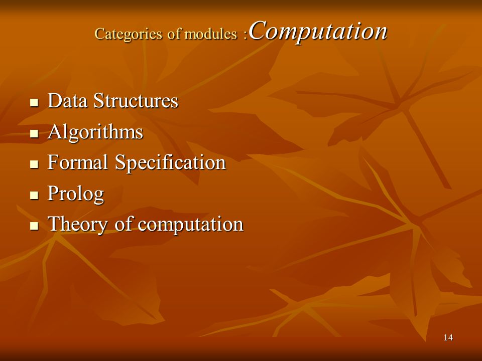 Categories of modules :Computation