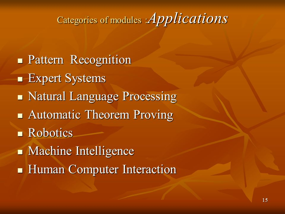 Categories of modules :Applications