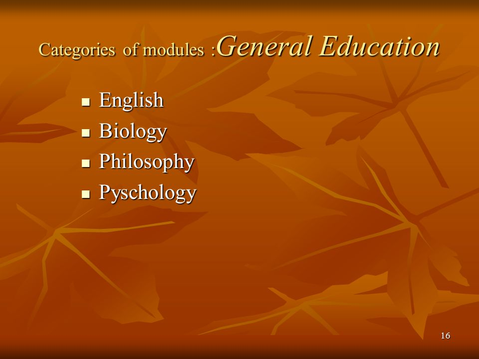 Categories of modules :General Education