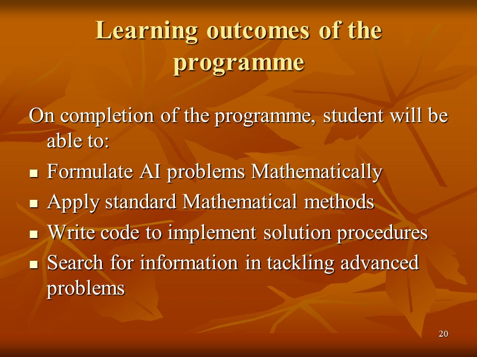 Learning outcomes of the programme