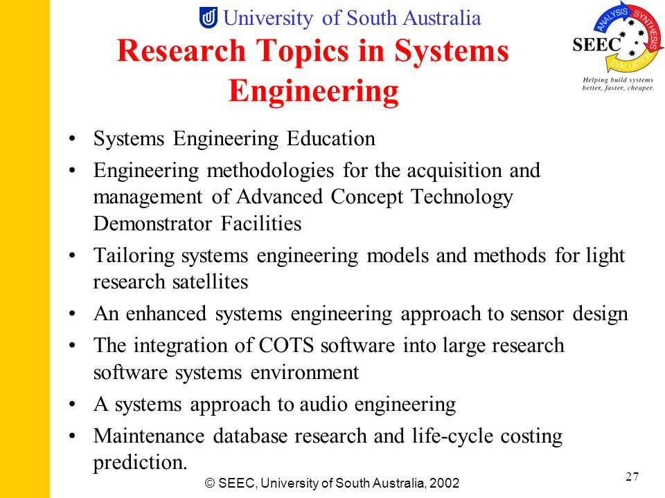 Research Topics in Systems Engineering