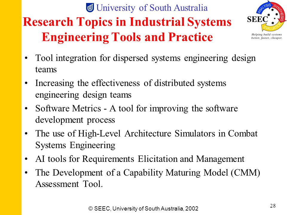 Research Topics in Industrial Systems Engineering Tools and Practice