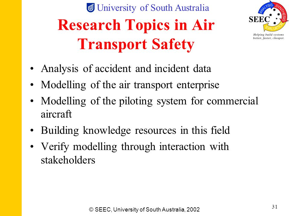 Research Topics in Air Transport Safety