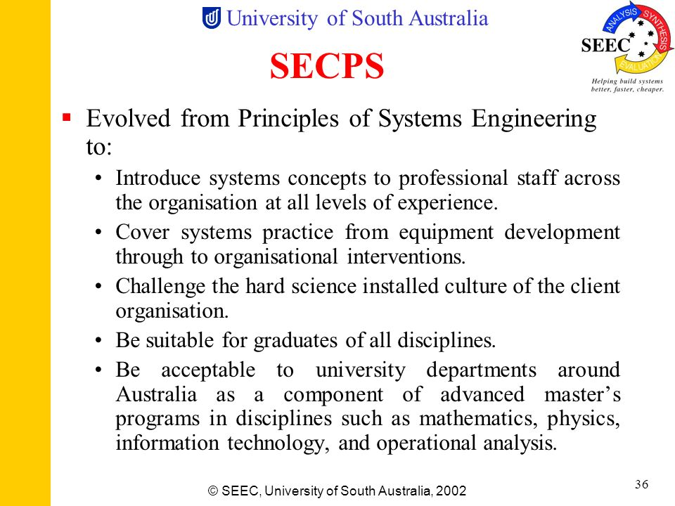 SECPS Evolved from Principles of Systems Engineering to: