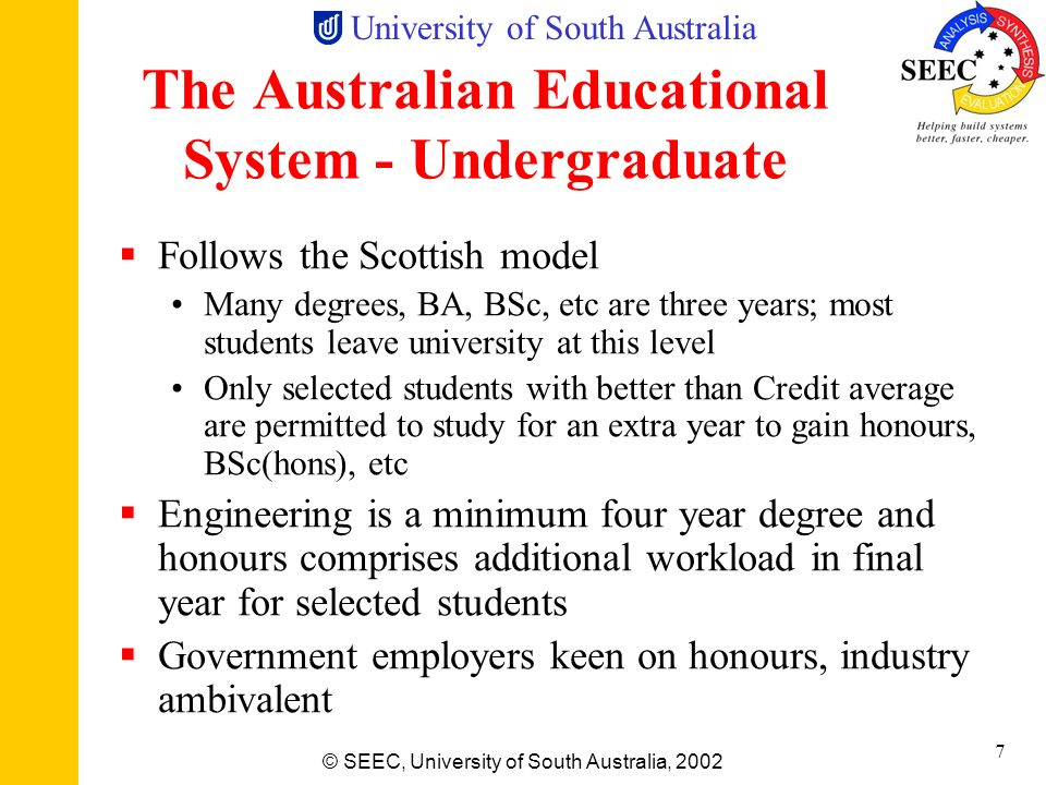 The Australian Educational System - Undergraduate