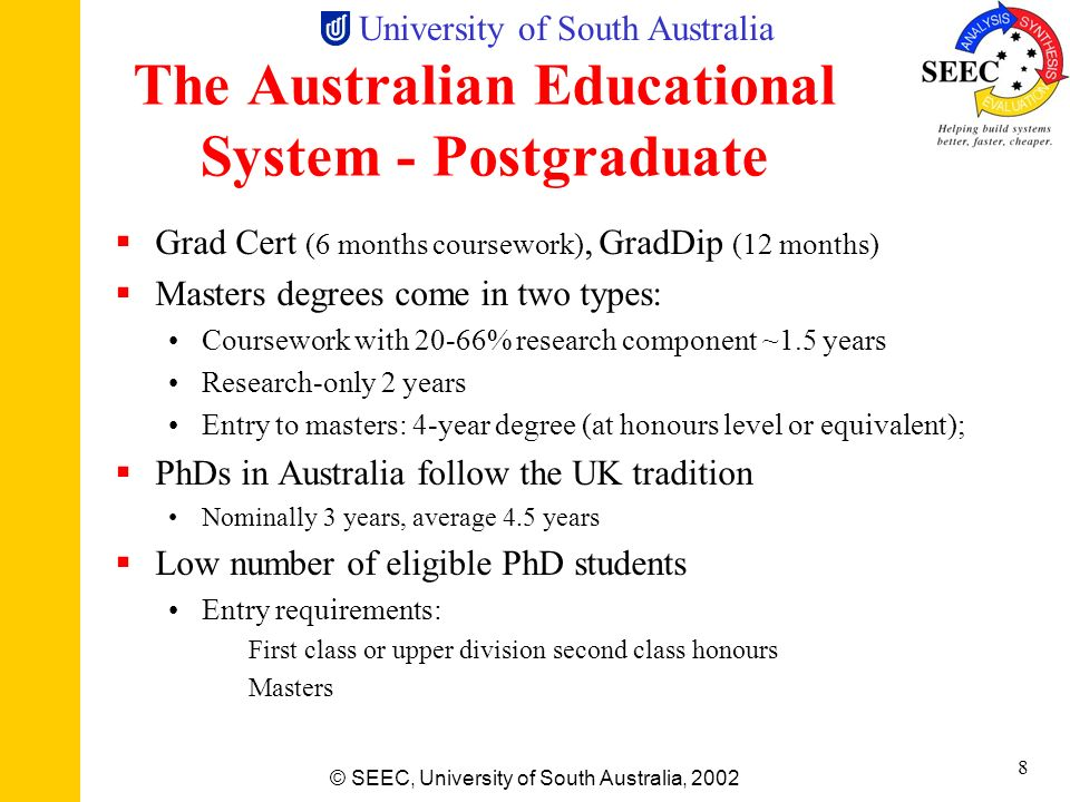 The Australian Educational System - Postgraduate