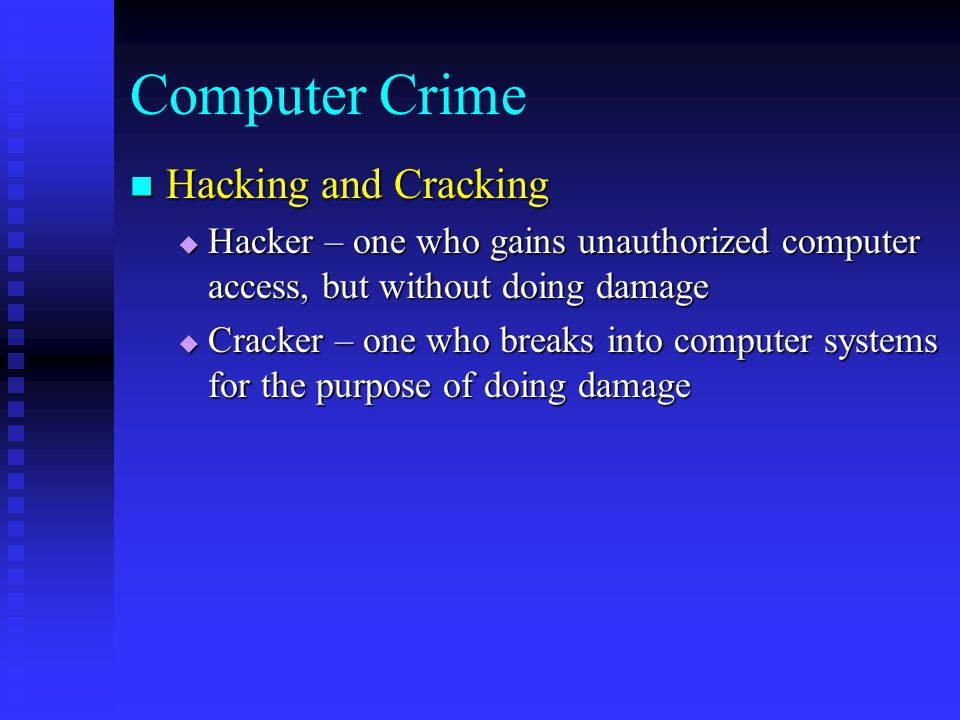 computer crimes ethics Computer ethics is a part of practical philosophy concerned with how computing professionals should make decisions regarding an author on computer crimes.