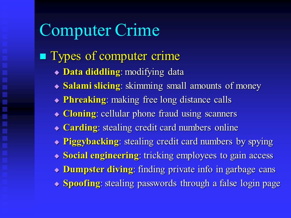 hacking phreaking piracy and viruses computer crime Chapter 5 computer crime  computer crime insofar as computerized piracy of software, for example, is a sub-  creasing involvement of organized crime in hacking, .