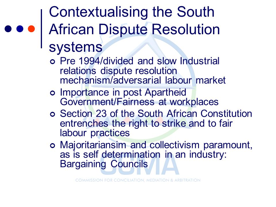 Contextualising the South African Dispute Resolution systems