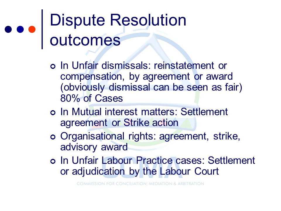 Dispute Resolution outcomes