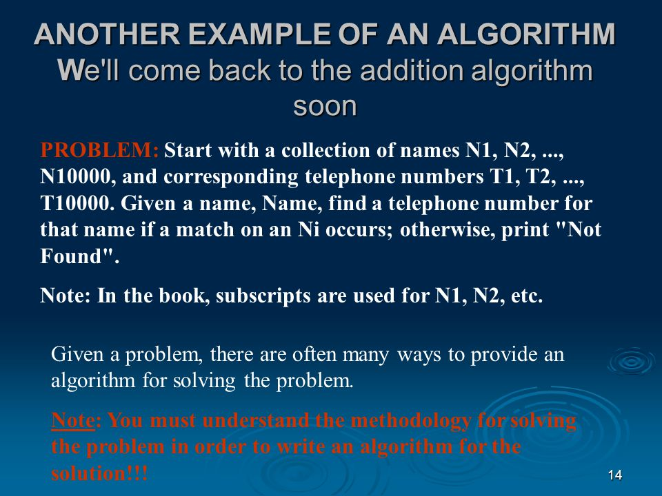ANOTHER EXAMPLE OF AN ALGORITHM We ll come back to the addition algorithm soon